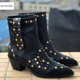 black blocks Canada - 2019 new women ankle boots block heel point toe boots women spike stud boots ladies party shoes black leather western booties