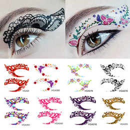 temporary eye shadow tattoos UK - Crazy Temporary Tattoo Stickers Girls Party Instant Eye Shadow Sticker Colourful Eye Rock Tools 12pairs lot RRA1742