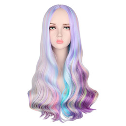 Rainbow wigs long haiR online shopping - Rainbow Colorful Long Wavy Wig Cosplay Party Women Heat Resistant Synthetic Hair Wigs
