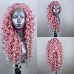 platinum color long wigs 2019 - Fashion Natural Long Kinky Curly pink Ombre Platinum Blonde brazilian wig Free Part Synthetic Lace Front Wig For white W