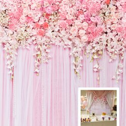 Discount cheap wedding backdrop curtains - Cheap Wedding Backdrop Pink flowers Bridal Shower Birthday Photography Background Roses Curtain Design D-9354 Background