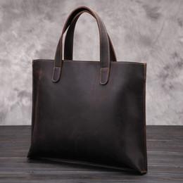 Cross Bags Australia - retro crazy horse leather men's bag Genuine Leather men's cross section handbag casual simple male business briefcase bag