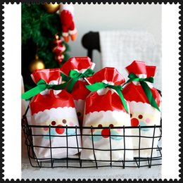 pack cookies Australia - 50PCS Santa Claus Plastic Bag for Gifts Drawstring Bag With Ribbon Merry Christmas Candy Bags Xmas Cookie Biscuits Packing