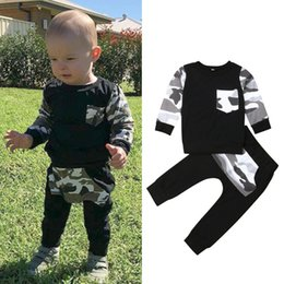 $enCountryForm.capitalKeyWord Australia - Cute 2019 Brand Autumn Toddler Kids Boys Clothes Camouflage Short Sleeve Tops T-Shirt+Long Pants Outfits Set 9M-5Y Dropshipping