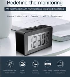 Ip Home Alarm Australia - Wifi alarm clock P2P IP Camera Full HD 1080P IR night vision Clock video camera motion detection DVR home security survellance camcorder