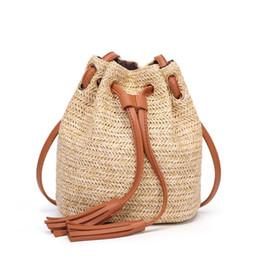 4ada3c5dd3af Tassel Straw Package RTS Woven Beach Bag Messenger Lady Fresh Handbag  Crossbody Bag Double tassel busket