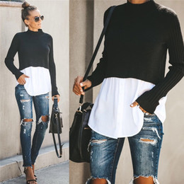 Wholesale sexy pullovers for sale - Group buy Autumn Womens Designer Panelled Sweaters Fashion Crew Neck Tops with Button Female Sexy Pullover Clothing