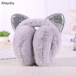 Korean earmuffs online shopping - Earmuffs Women Cat Ears Shiny Bling Harajuku Kawaii Thicker Winter Korean Style All match Leisure Streetwear Furry Plus Velvet