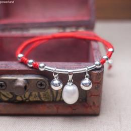 $enCountryForm.capitalKeyWord Australia - Freshwater Pearl Charm Red Bracelet For Women Fashion Gift S925 Sterling Silver Lucky Bangle Handmade Jewelry C19021601