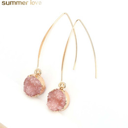 Dangle stone online shopping - Fashion Resin Stone Earrings Druzy Drusy Earrings For Women Gold Plating Round Circle Shape Ear Best Jewelry Gifts