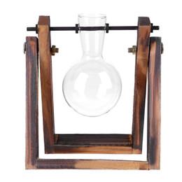 Clear Wood Glasses Australia - Glass and Wood Vase Planter Terrarium Table Desktop Hydroponics Plant Bonsai Flower Pot Hanging Pots with Wooden Tray Home Decor
