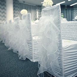 white wedding chairs wholesale Canada - Marious hot selling 50pcs lot white ruched Chair Cover spandex with organza Chair Covers factory for wedding FREE SHIPPING