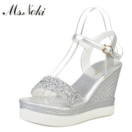 $enCountryForm.capitalKeyWord Australia - Ms.noki High Heels Sandals Women Shinning Glitter Silver Gold Platform Wedges 2019 Summer Ladies Open Toe Casual Shoes Pumps Hot Y19070103