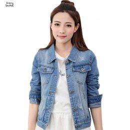 Short Sleeve white denim jacket online shopping - Jeans Fashion Denim Jacket Women Short Overcoat Ladies Tops Turn Down Collar Slim Casual White Black Jeans Jacket Outwear