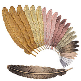 Wholesale 7 Colors Metal Feather Bookmark Document Book Mark Label Golden Silver Rose Gold Bookmark Office School Supplies