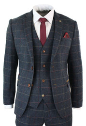 Mens three piece tweed suit online shopping - Navy Blue Mens Suits Check Herringbone Tweed Vintage Piece Wool Blend Suits Custom Made Formal Occasion Dress