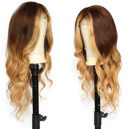 $enCountryForm.capitalKeyWord Australia - Colored Loose Wave Human Hair Lace Front Wigs For Black Women Ombre Highlight Brazilian Full Lace Wigs With Baby Hair Natural Hairline