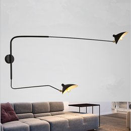 wall lamp flexible light NZ - Modern Adjustable Long Swing Arm Wall Lamp Lights For Reading 360 Degree Rotatable Flexible Vintage Black Metal Wall Lamp LED