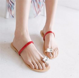 Ring Slides Australia - COVOYYAR Rhinestone Toe Ring Summer Flat Sandals Women 2019 Hot Fashion Open Toe Flip Flops Slides Slip on Beach Shoes WSS50
