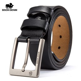 mens wide leather belt NZ - BISON DENIM Cowskin Belt Men Accessories Cowboy Genuine Leather Belts For Men Vintage Pin Buckle Mens Belts Gift For Man T200113