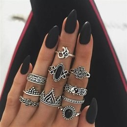 $enCountryForm.capitalKeyWord Australia - 10pcs Retro Style Knuckle Rings for Women Vintage Taiji Lotus shape Rings Set Party Bohemian Gift Jewelry Rings