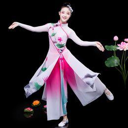Women Costume Hanfu Australia - Hanfu classical dance costumes elegant national costume fan dance Yangko ancient chinese costume folk for woman