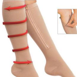 Vente en gros Chaussettes de compression au genou à fermeture à glissière sport à bout ouvert Bas à fermeture au genou à fermeture à glissière Bas de maintien à la jambe pour femmes RRA1189