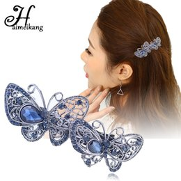 flower hair clip vintage Australia - Haimeikang Vintage Crystal Butterfly Hair Clip Barrettes for Women Hair Accessories Rhinestone Flower Hairpin Headwear