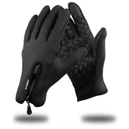 Windproof Touch Screen Gloves Australia - Winter Windproof Full Finger Touch Screen Gloves Cycling Casual Street Outdoor Windproof Zip 10 11cm 3 93 4 33inch Solid