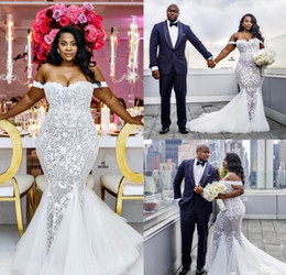 HigH slit gowns online shopping - Mermaid Wedding Dresses Modest Plus Size Off Shoulder Trumpet Bridal Gowns Sweep Train Tulle Lace African Wedding Dress Custom Made