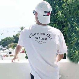 Toptan satış Avrupa ve Amerika'da 383 # yeni model yaz öncesi ve sonrası yeni yaz gelgit mektupları baskılı kısa kollu T-shirt baskılı.