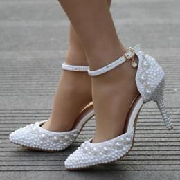 Donne Sexy Pompe Pizzo bianco perla strass bordato cavigliera abito da sposa scarpe da principessa sandali di grandi dimensioni
