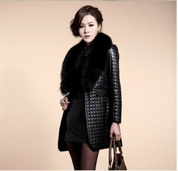 $enCountryForm.capitalKeyWord NZ - Oversized imitation raccoon fur collar sheep skin simulation leather plus cotton leather jacket ladies long coat