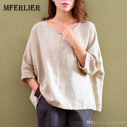 $enCountryForm.capitalKeyWord Australia - Womens Tops and Blouses Batwing Sleeve O Neck Linen Blouse Summer Autumn Casual Beige Women Shirts