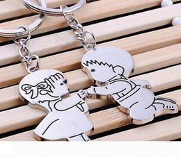 pendant couple boy girl UK - B Boy and Girl Propose Couple Key Ring Metal Bag Pendant Zinc Alloy Car Key Chain WB97