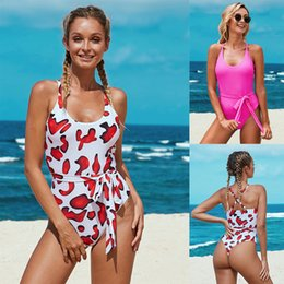 Wholesale womens swimwear for sale – plus size INS New Seaside Sexy One Piece Swimwear Printed Low round Neck Cross Strap Triangular Womens European And American Style Bikini Sale