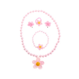 $enCountryForm.capitalKeyWord UK - Candy Cute Necklace Bracelet Ring Earrings Baby Jewelry Flower Pendants Beads Resin Plastic Kids Jewelry Set For Children