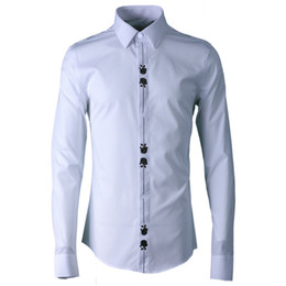 black collar dress shirt Australia - 100% Cotton Men Shirt Fashion Placket Embroidered Long Sleeve Mens Dress Shirt White Black Mens Shirts Casual Slim Fit