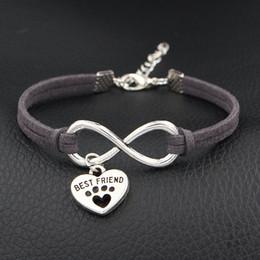 $enCountryForm.capitalKeyWord NZ - Dark Gray Leather Rope Wrap Bracelet Boho Infinity Pets Dog Paw Best Friend Friendship Bangles Unique Handmade Cuff Ethnic Jewelry Women Men