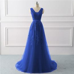 $enCountryForm.capitalKeyWord Australia - Royal Blue Evening Dress Plus Size Long 2019 A Line Formal Party Dresses Appliques Lace Prom Gown Dress Bridal Vestido De Noiva Y19051401