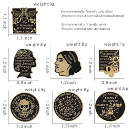 $enCountryForm.capitalKeyWord Australia - 7 Styles Black Gold mysterious Enamel Pins Vintage gothic character avatar flowers Brooches Badge Jewelry Gifts for Friends