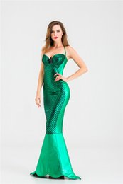 $enCountryForm.capitalKeyWord Australia - Halloween Mermaid Tail Costume Princess Dresses Cosplay Clothing Sexy Wrap Chest Women Sequined Dresses Masquerade Skirt S-XXL Vogogirl