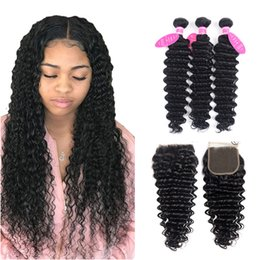 $enCountryForm.capitalKeyWord Australia - Deep Wave Human Hair Bundles With Closure 4 pcs lot Brazilian Hair Weave Bundles With Closure Jet Black Remy Hair Extension