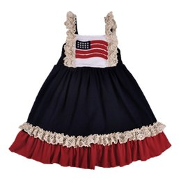 1ed12ef801250 4th of july girls Princess dresses kids american flag Lace ruffle falbala  dress Summer Children Independence Day Casual Dresses Y2255