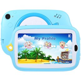 android 4.4 tablet pc Australia - 7.0 inch Tablet PC Kids Education 8GB Android 4.4 Allwinner A33 Quad Core WiFi Bluetooth with Holder Silicone Case(Blue)+32GBTF