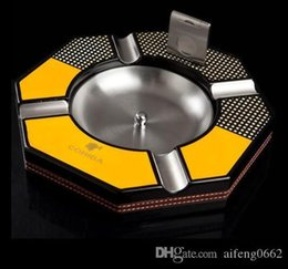 bowl cutter NZ - Unique fashion design Cohiba High-end Paint Wooden Metal Detachable Bowl Cigar Ashtray with the same Cutter