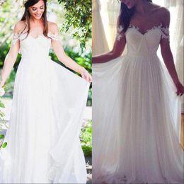 Wholesale boho off shoulder top for sale – plus size Modest Off Shoulder Wedding Dresses Boho Crop Top Lace Chiffon Country Short Sleeve Bridal Gowns