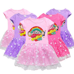 baby kids frocks wholesale UK - Summer Me Contro Te Dress For Baby Girl Lace Frock Korean Kid Cartoon Cotton Party Princess Dresses Children Costume 3 4 5 6 7 8 9 Year