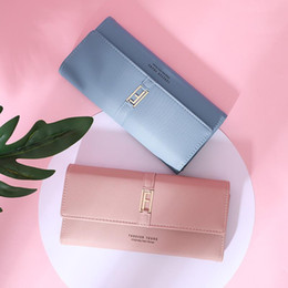 $enCountryForm.capitalKeyWord Australia - Ma'am fashion credit card wallets ladies small leather blue purse Long Fund Hand Take Package Three Fracture Hasp Young european for women