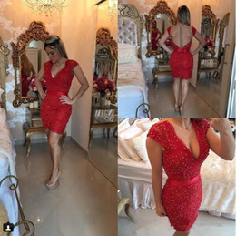 $enCountryForm.capitalKeyWord Australia - Hot Sale Short Red Lace Prom Dresses 2019 Above Knee Cap Sleeves Applique Beaded Detail and Sheer Illusion Back Formal Evening Gowns